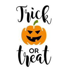 halloween trick or treat pumpkin face vector image