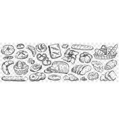 hand drawn bread doodle set vector image