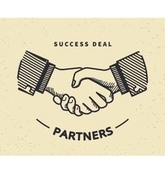 Handshaking vintage vector image