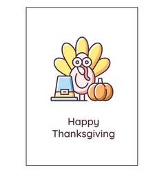 happy thanksgiving greeting card with color icon vector image