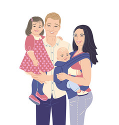 happy young modern family with two kids vector image