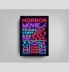 Horror movie postcard typography design neon vector