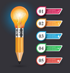 infographic design bulb light icon pencil vector image