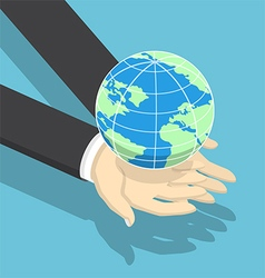 Isometric businessman holding earth globe vector image