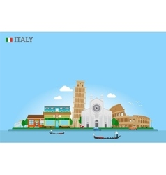 Italy Skyline and flag vector image