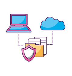 laptop cloud computing folder document security vector image