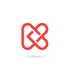 Letter k heart logo icon design template elements vector