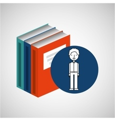 Library books school student boy vector