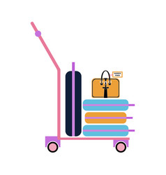 luggage trolley with suitcases and bag flat style vector image