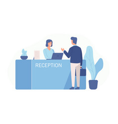 Male customer standing at reception desk vector