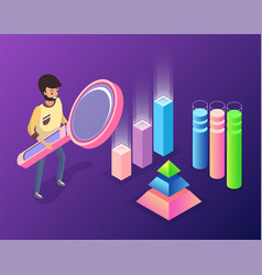 man holding magnifying glass leading research vector image