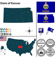 Map of Kansas vector