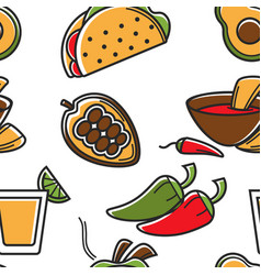 Mexican food seamless pattern mexico cuisine vector