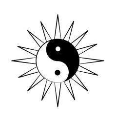 minimalist tattoo boho yin yang line art icon over vector image