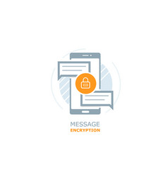 mobile message encryption vector image