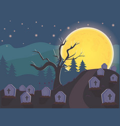 Night cemetery gravestones moon halloween vector