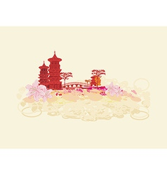 Old paper with Chinese Temple on Asian Landscape vector
