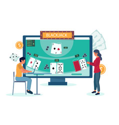 online blackjack gambling concept for vector image