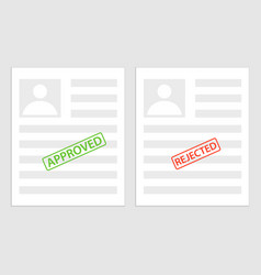 Pack sheets paper with stamp of rejected approval vector