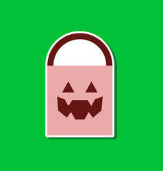 Paper sticker on stylish background halloween bag vector