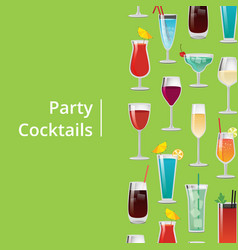 party cocktails poster with different long drinks vector image