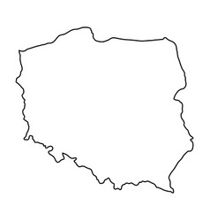 Poland map of black contour curves of vector