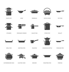 Pot pan and steamer glyph icons restaurant vector