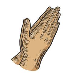 Prayer hands gesture color sketch engraving vector