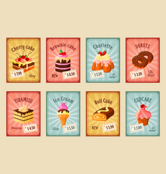 price cards set for bakery dessets vector image