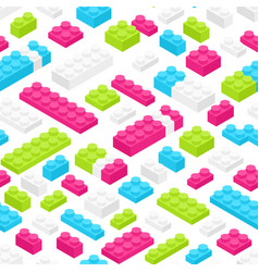 seamless pattern with isometric colorful plastic vector image