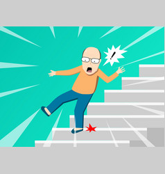 senior man falling from staircase art vector image