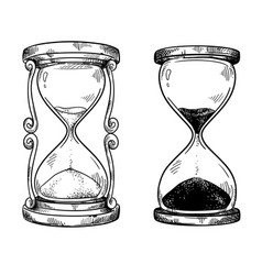 set 2 vintage sand hourglasses black and vector image
