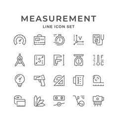 Set line icons measurement vector