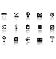 Set of heating icons with reflection vector