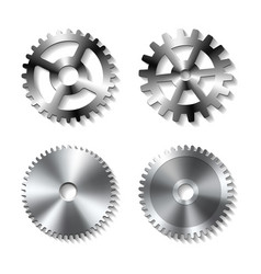 Set of realistic metal gears vector
