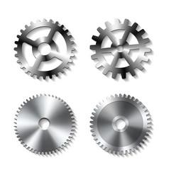 Set realistic metal gears vector