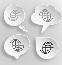 Shift globe White flat buttons on gray background vector