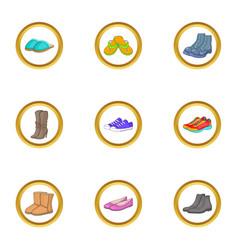 Shoe icons set cartoon style vector