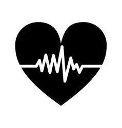 Silhouette monochrome heart beat pulse vector