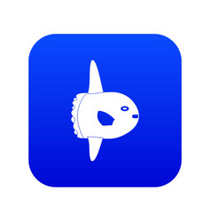 small fish icon digital blue vector image