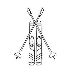 snow skis equipment vector image