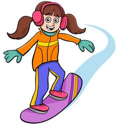 Snowboarding girl character cartoon vector