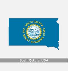 south dakota usa map flag vector image