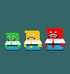 stage anger green yellow and red people vector image