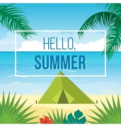Summer holidays background with palm leaves vector
