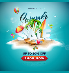 summer sale design with beach ball and exotic palm vector image