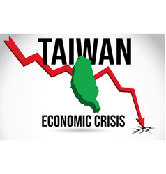 Taiwan map financial crisis economic collapse vector