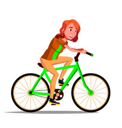 teen girl riding on bicycle healthy vector image