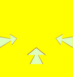 Three white arrows on yellow background vector