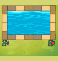 Top view of swimming pool in park vector